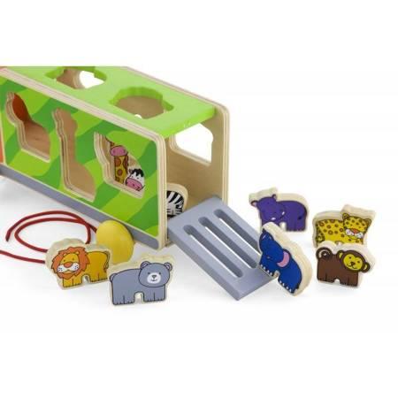 Drewniany Samochód ze zwierzątkami Sorter kształtów Viga Toys