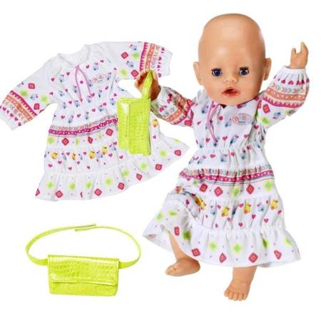 Baby Born Modna Sukienka Boho  + Torebka dla Lalki 43 cm