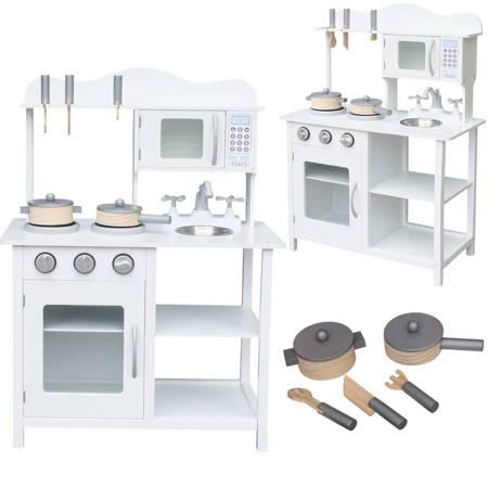 Biała Drewniana Kuchnia dla dzieci  + Akcesoria
