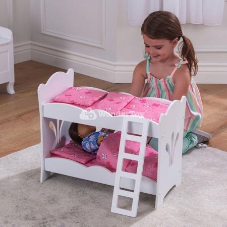 Białe Łóżko Piętrowe dla lalek Lil Doll Kidkraft 60130