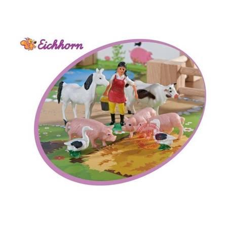 Drewniana Farma Zwierzęta + 12 figurek  EICHHORN