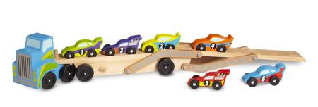 Drewniana Laweta z wyścigówkami  Melissa and Doug 12759