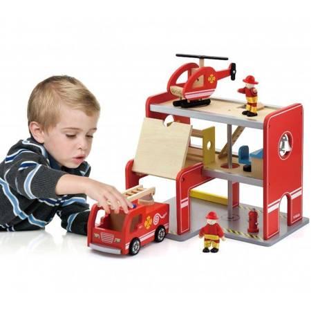 Drewniana Stacja Remiza Strażacka Garaż Akcesoria Wóz Strażacki Viga Toys