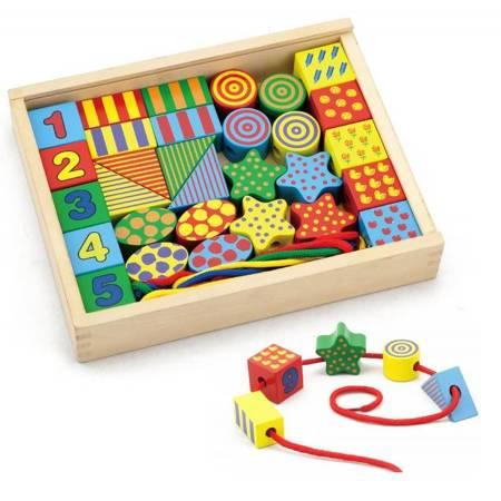 Drewniane Klocki Edukacyjne do nawlekania  Viga Toys