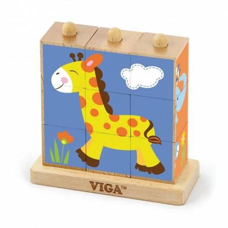 Drewniane Klocki układanka logiczna Zoo Viga Toys