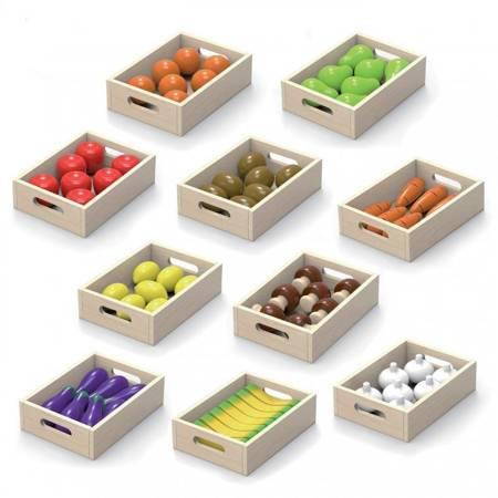 Drewniane Owoce Warzywa Zestaw 10 skrzynek Viga Toys
