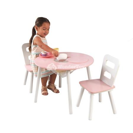 Okrągły Stolik i 2 Krzesła Różowy Kidkraft 26165