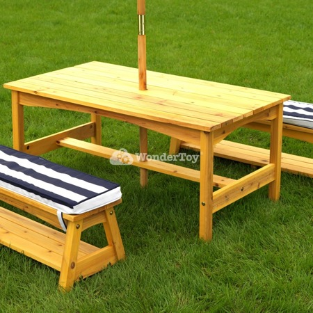 Stół i Ławki z Kolorowym Parasolem Table and Benches with Blue Umbrella KidKraft 00106