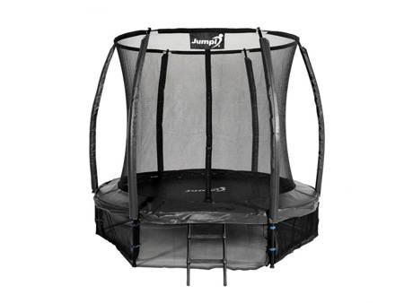 Trampolina Ogrodowa 252cm/8ft Czarna Maxy Comfort Plus Z Wewnętrzną siatką