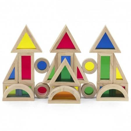 VIGA Drewniane Kolorowe Klocki Zestaw 24 elementy